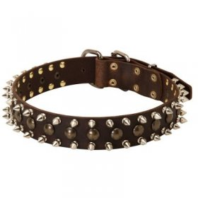 3 Rows Leather Spiked and Studded Samoyed Collar