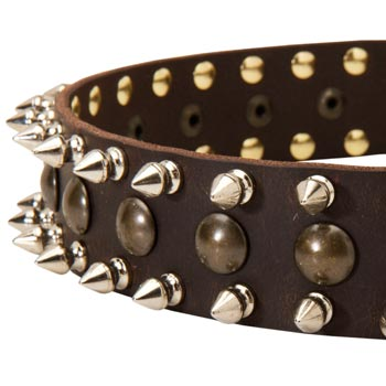 Samoyed Leather Collar with Hand Set Spikes  And Studs