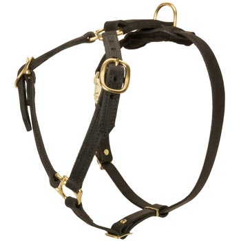 Leather Samoyed Harness Light Weight Y-Shaped for Tracking Dog