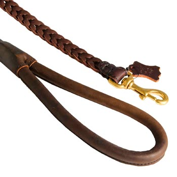 Braided Leather Samoyed Leash with Brass Snap Hook