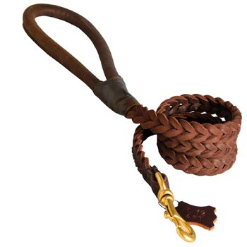 Multipurpose Leather Braided Samoyed Leash